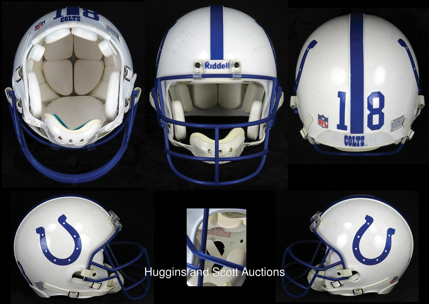 Peyton Manning 1998 1999 Rookie Second Year Game Worn Indianapolis Colts Helmet