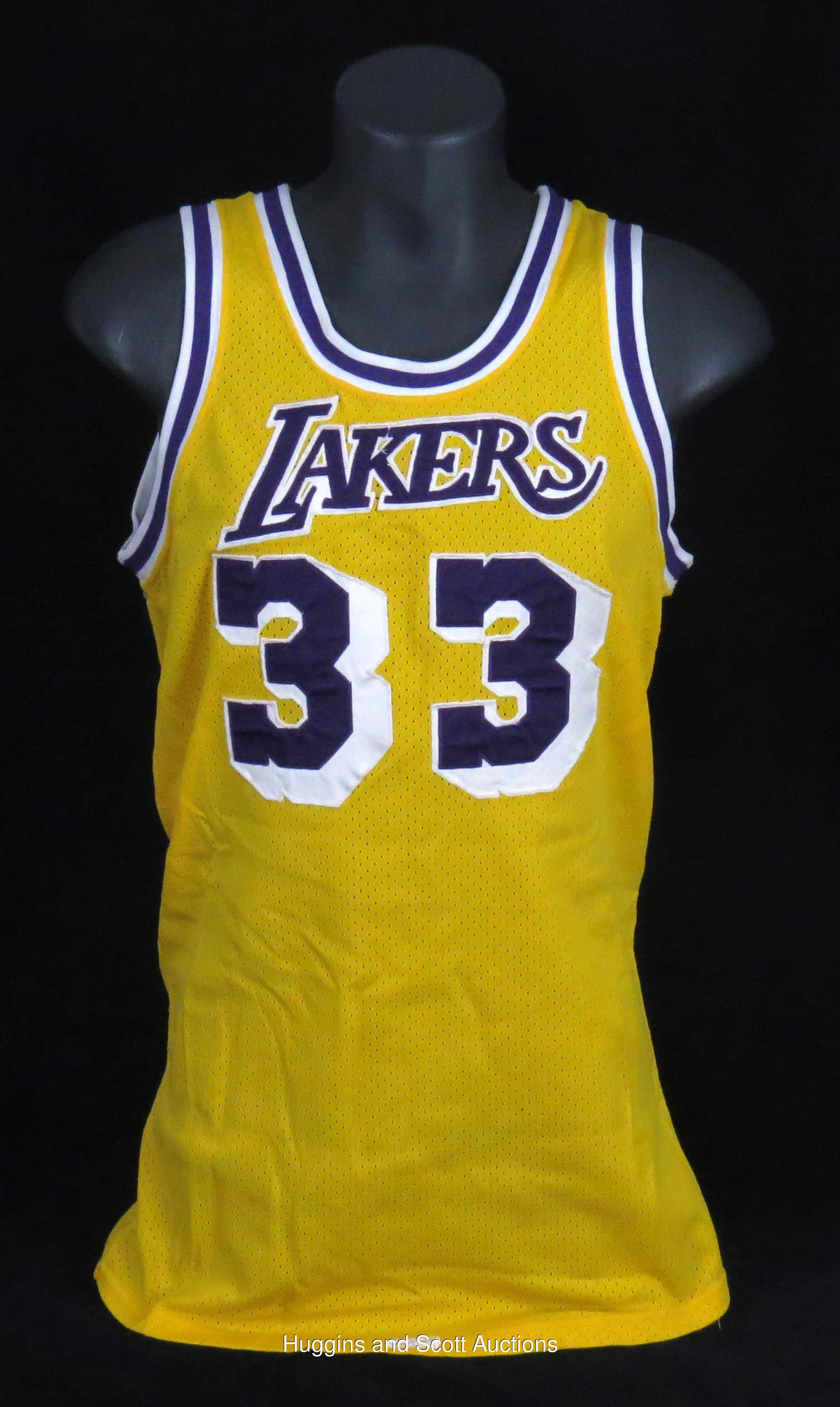 fd00cc2aeac Kareem Abdul-Jabbar 1980-1985 Los Angeles Lakers Game-Worn Home Jersey  (Mears A10) and Accompanying Road Shorts